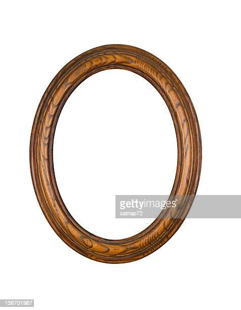 Picture Frame Oak Oval Round, White Isolated