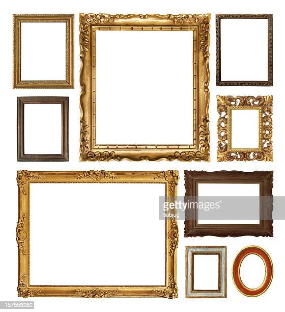 Picture frames in various shapes and sizes