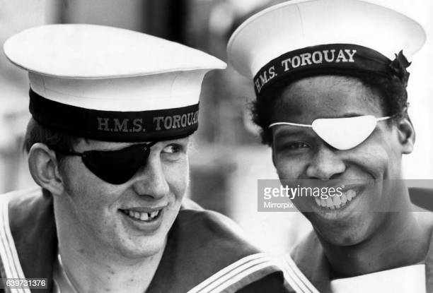 A picture from a series of humurous novelty images taken by Sunday People photographer Dennis Hutchinson These two Jolly Jack Tars have a good line...