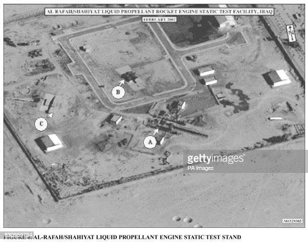 Picture from the British Government dossier of evidence against Iraqi President Saddam Hussein showing the AlRafah / Shahiyat Liqwuid Propellant...