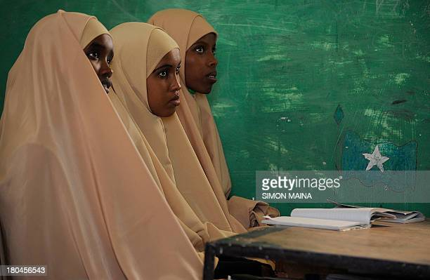 Picture made on September 10 2013 show pupils of Gambool high school in a classroom in Garowe region of Somaliland The school is a project funded by...