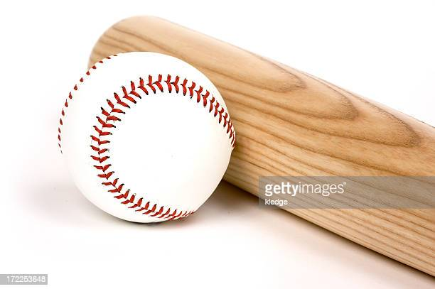 A picture of a baseball and a bat