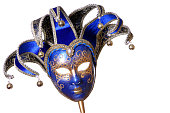 A picture of a blue and gold mask