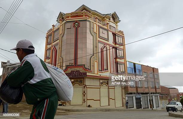 Picture of a building built in neoAndean baroque architecture known as Cholet style in El Alto Bolivia taken on March 13 2015 The constructions or...