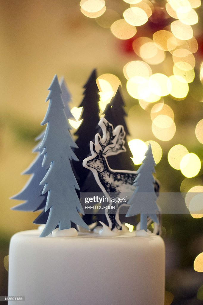Picture of a Christmas cake taken on December 20, 2012 in Paris at the Sugarplum Cake Shop, an authentic American Coffee Shop.
