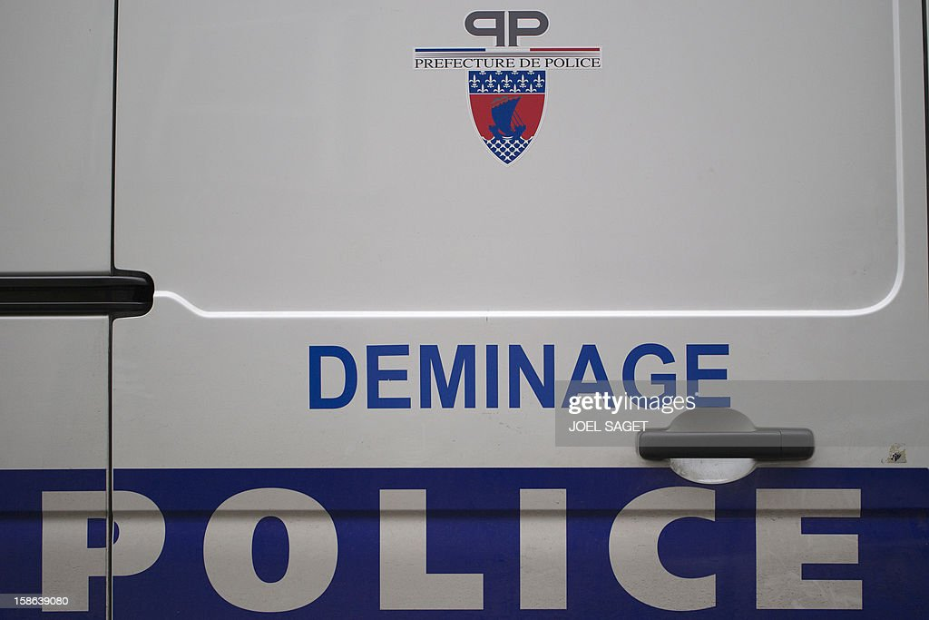 Picture of a demining police van taken on December 22, 2012 in Paris.