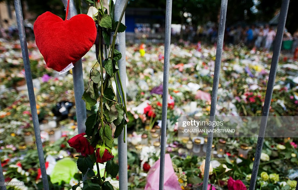 Picture of a makeshift memorial outside the Cathedral in Oslo to honor the 76 victims of the July 22 twin attacks in downtown Oslo and on the island...