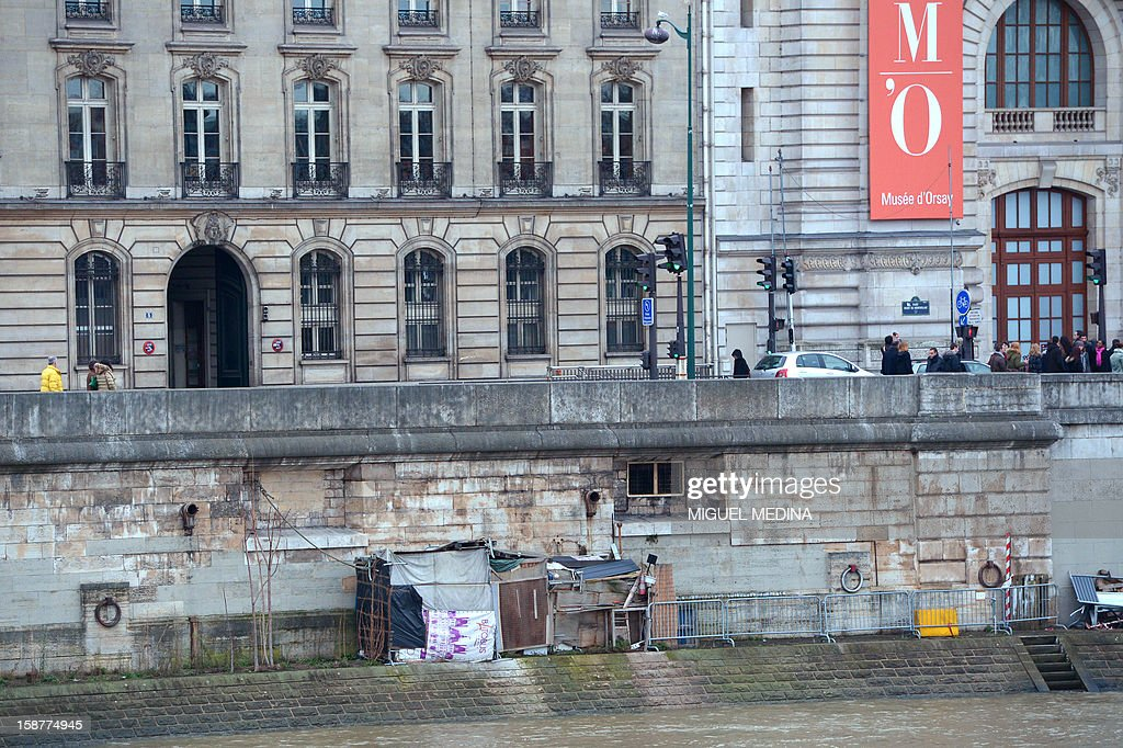 Picture of a makeshift shelter taken on the Seine river bank near the quai d'Orsay Museum in Paris, on December 28, 2012.