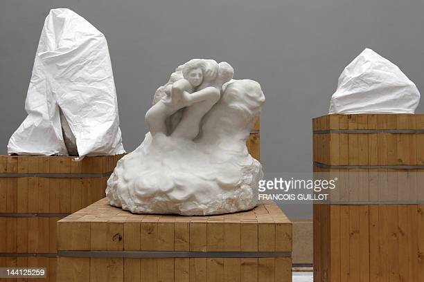 Picture of a marble sculpture entitled 'Paolo et Francesca dans les nuages' by French sculptor Auguste Rodin taken on May 10 in a storage depot at...