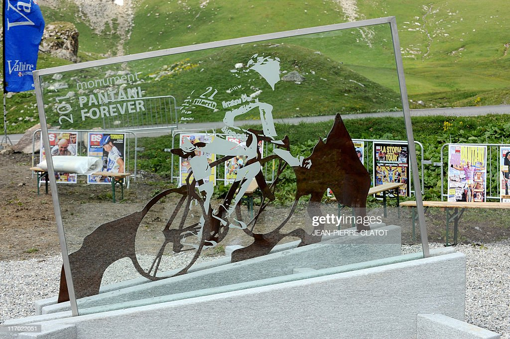 Picture of a memorial dedicated to late Italian cyclist Marco Pantani made on June 19, 2011 in Valloire, a village on the way to the Galibier, the day of its inauguration. Troubled champion Pantani, the 1998 winner of the epic race who courted doping controversy on several occasions during his career, died from a drugs overdose in a Rimini hotel in 2004.