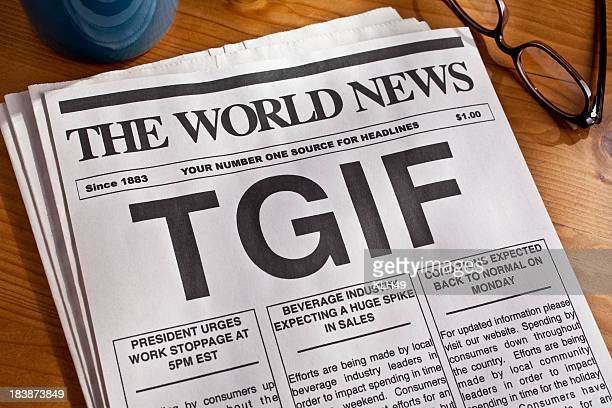 Picture of a newspaper with the phrase TGIF