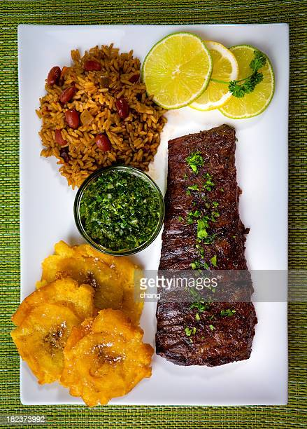 Picture of a plated skirt steak with sides