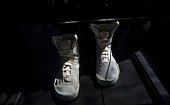Picture of a replica of the sneakers that actor Michael J Fox used in the movie 'Back to the Future'' in 1985 being displayed during an anniversary...