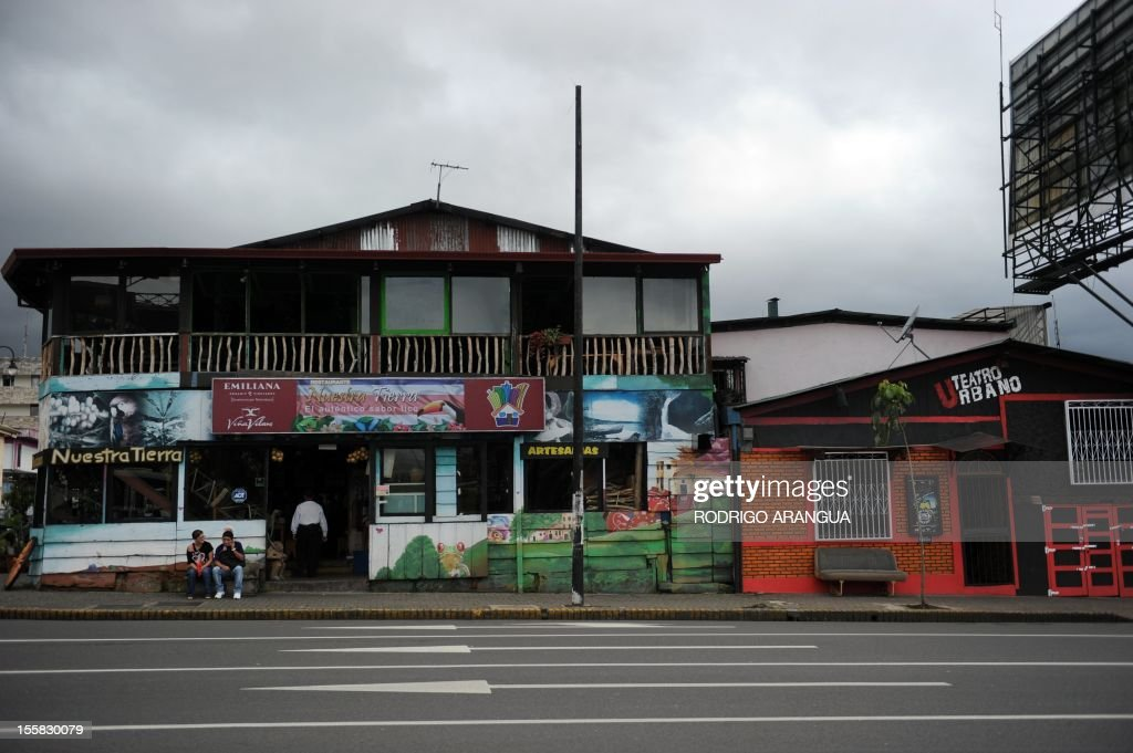 Picture of a restaurant and theater in downtown San Jose, Costa Rica, taken on November 8, 2012. AFP PHOTO/Rodrigo ARANGUA /