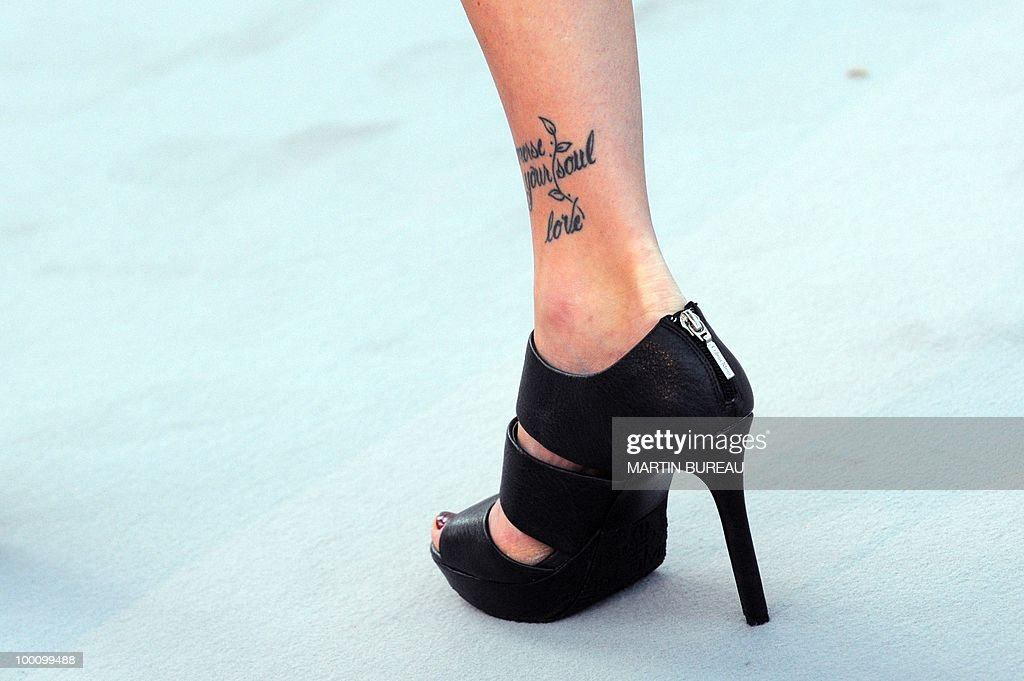 Picture of a shoe taken at amfAR's Cinema Against Aids 2010 benefit gala on May 20, 2010 in Antibes, southeastern France.