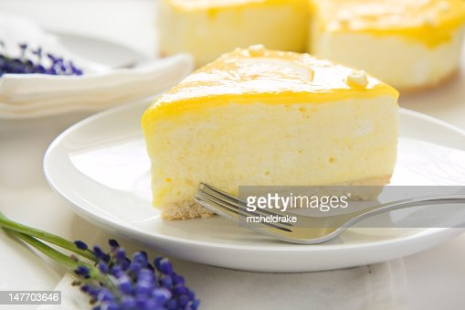 A picture of a slice of lemon mousse cake : Stock Photo