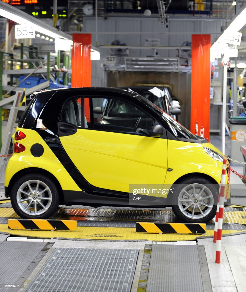 Picture of a Smart ForTwo car taken at the Smart factory of Hambach, eastern France, on December 11, 2012. The third-generation Smart electric drive is scheduled to be launched in the U.S. and Europe by the second quarter of 2013 and Smart plans to mass produce the electric car with availability in 30 markets worldwide. VERHAEGEN