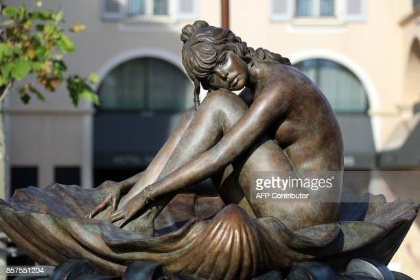 Picture of a statue of French actress Brigitte Bardot based on an illustration watercolour by Italian illustrator Milo Manara is pictured in the...