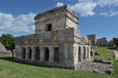 Picture of a temple at the PreColumbian Mayan site of Tulum built on the eastern coast of the Yucatan Peninsula on the Caribbean Sea in the Mexican...