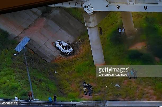 Picture of a TV set taken while TV Globo News shows the car of Greek ambassador in Brazil Kyriakos Amiridis in Nova Iguacu Baixada Fluminense Rio de...