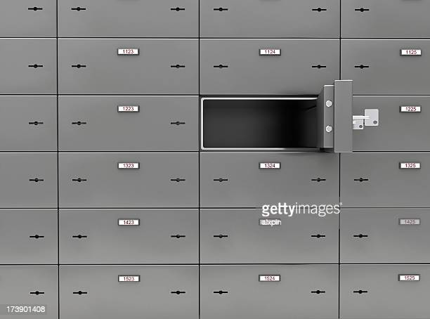 A picture of a wall of safe deposit boxes