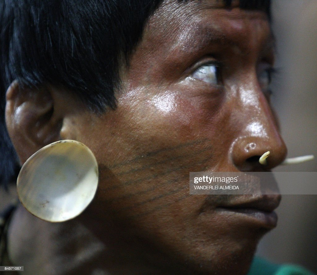 Picture of an indian of the Matiz de Amazonia tribe that bursted into a press room during the World Social Forum to protest the poor conditions they...