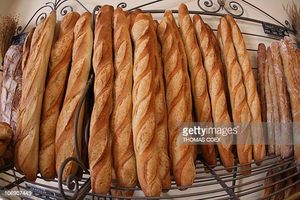 Picture of 'baguettes' taken 30 August 2007 in a bakery in Paris The rate of the raw material could lead to an increase in bread prices a highly...