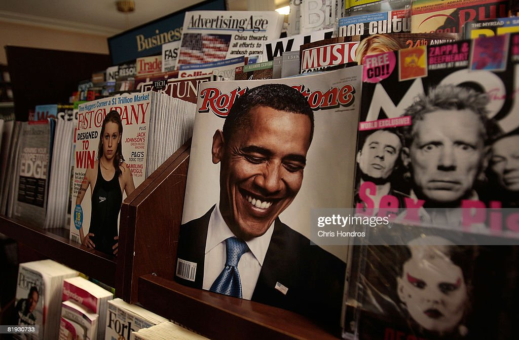 A picture of <a gi-track='captionPersonalityLinkClicked' href=/galleries/search?phrase=Barack+Obama&family=editorial&specificpeople=203260 ng-click='$event.stopPropagation()'>Barack Obama</a> is seen on the cover of Rolling Stone magazine July 14, 2008 in New York City. This week's edition of The New Yorker magazine with a satirical illustration on the cover depicting Democratic presidential candidate Sen. <a gi-track='captionPersonalityLinkClicked' href=/galleries/search?phrase=Barack+Obama&family=editorial&specificpeople=203260 ng-click='$event.stopPropagation()'>Barack Obama</a> (D-IL) dressed in traditional Arab garb and his wife Michelle Obama dressed in military fatigues and carrying an assault rifle is generating controversy.