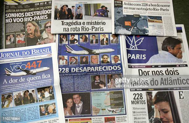 Picture of Brazilian newspapers reporting on the Air France passenger jet which disappeared on June 1 over the Atlantic while en route from Rio de...