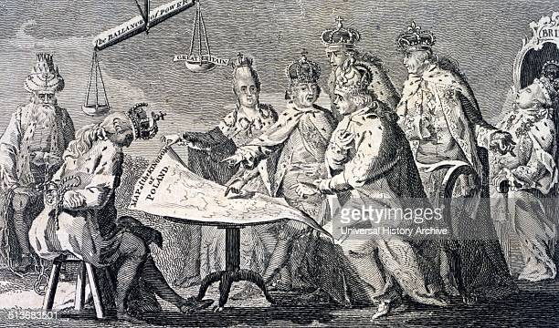 Picture of Europe for July 1772 Cartoon shows Catherine II Leopold II and Frederick William II seated at table on which rests a map of Poland...