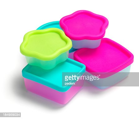 A picture of five different shaped plastic containers