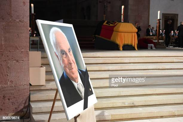 A picture of former German Chancellor Helmut Kohl on display during a requiem for former German Chancellor Helmut Kohl at Speyer cathedral on July 1...
