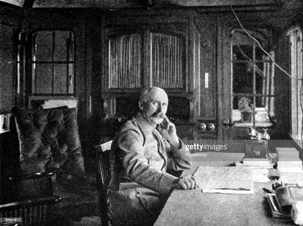 A picture of General Marshall Henri Phillipe Petain (1856-1951), the French soldier and statesman, in the private railway coach in which he directed operations at Verdun during the Great War