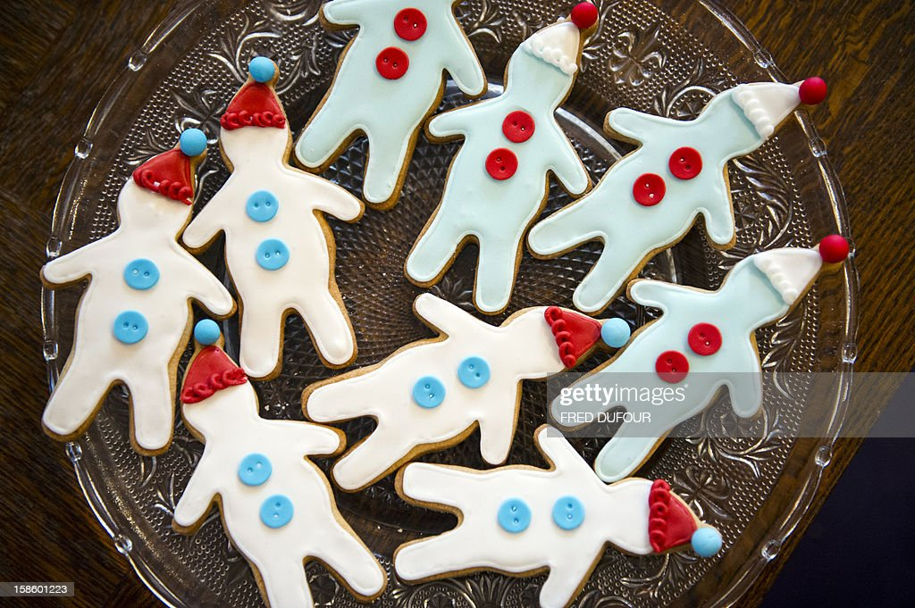 Picture of gingerbread men baked for Christmas on December 20, 2012 in Paris at the Sugarplum Cake Shop, an authentic American Coffee Shop.