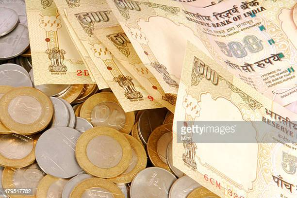 A picture of Indian coins and 500 rupee notes photographed on October 12 2010 in New Delhi India