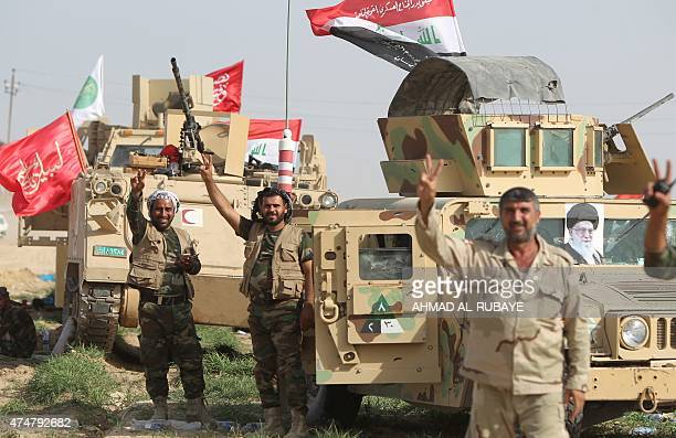 A picture of Iran's supreme leader Ayatollah Ali Khamenei adorns a military vehicle as Iraqi security forces and paramilitaries deploy on May 26 in...