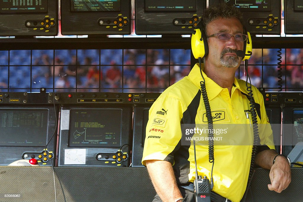 Picture of Irish JordanFord director Eddie Jordan taken in the pit wall of the Hockenheim racetrack 01 August 2003 during the first free practice...