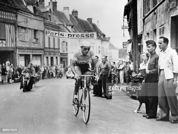 Picture of Italian cyclist Fausto Coppi during a stage of the Tour de France 1949 Fausto Coppi one of the most famous cyclist in the world died of...