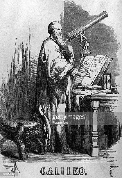 A picture of Italian mathematician astronomer and physicist Galileo Galilei looking through a telescope