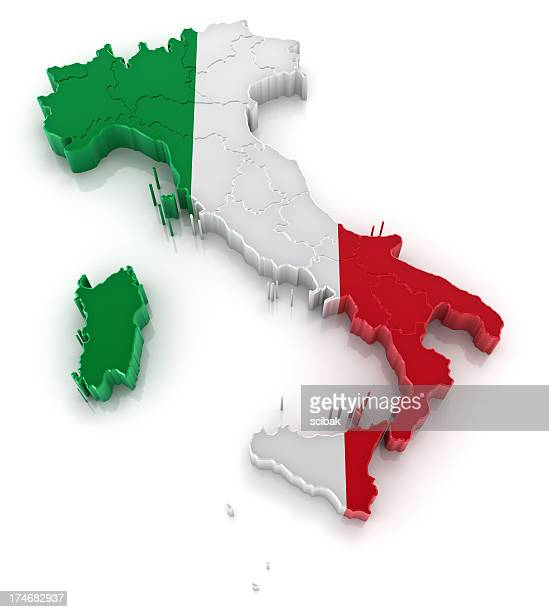 3D picture of Italy colored like the Italian flag