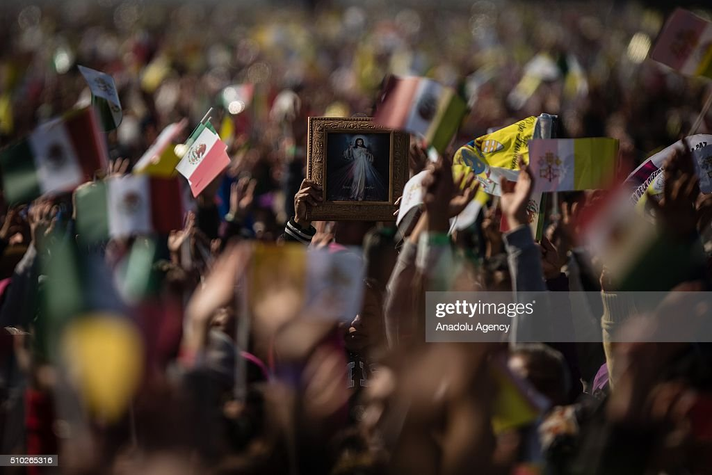 A picture of Jesus is seen before the mass of Pope Francis in Ecatepec in his Pastoral Visit to Mexico in Ecatepec, Mexico on February 14, 2016.