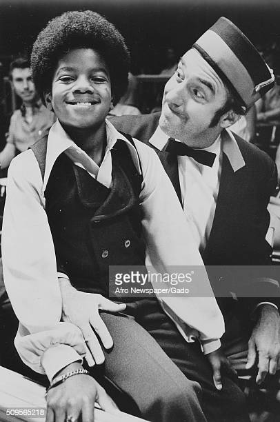 Picture of Michael Jackson as a boy sitting on Jim Nabors lap September 17 1970