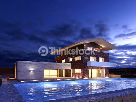 Picture of modern architecture, modern house, night scene