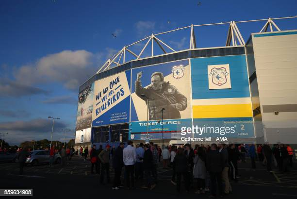 A picture of Neil Warnock on the outside of Cardiff City stadium before the FIFA 2018 World Cup Qualifier between Wales and Republic of Ireland at...