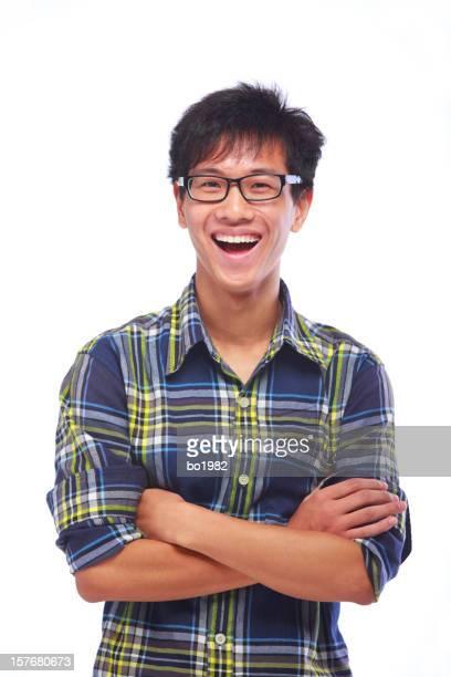 写真のアジア人男性笑い