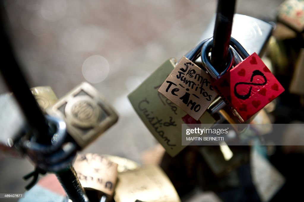 Picture of padlocks locked at the Love Bridge in Santiago, Chile, taken on Valentine's Day on February 14, 2014.