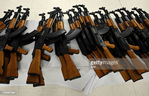Picture of part of the assault rifles seized by the Colombian police in Cali Valle del Cauca department Colombia on July 29 2011 The Colombian police...