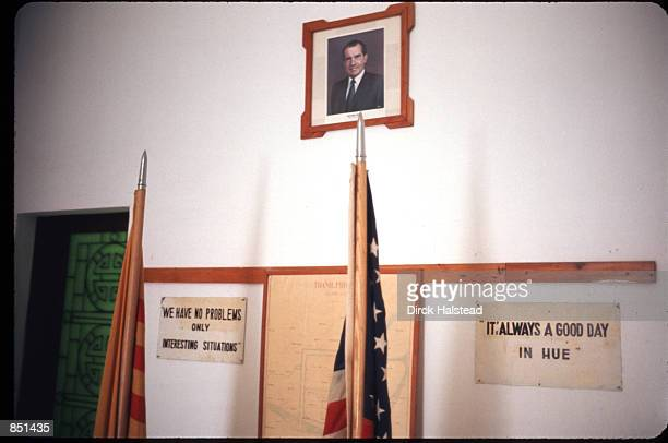 A picture of President Nixon hangs on the wall in the Phu Bai airport constructed as a United States airbase May 22 1972 in Hue Vietnam The US...