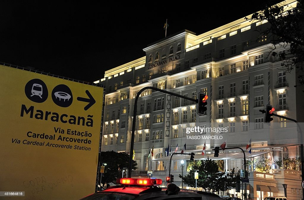 Picture of Rio de Janeiro's Copacabana Palace Hotel, an official FIFA hotel during the World Cup Brazil 2014 taken on July 3, 2014. An illegal ticketing scandal rocked the World Cup on Thursday as Germany and France geared up for a titanic quarter-final showdown. Police probing an international scalping syndicate said thousands of illegally sold tickets worth millions of dollars were believed to have originated from a FIFA individual. The unnamed foreign national was staying at the luxury Copacabana Palace hotel, police commissioner Fabio Barucke said. AFP PHOTO / TASSO MARCELO