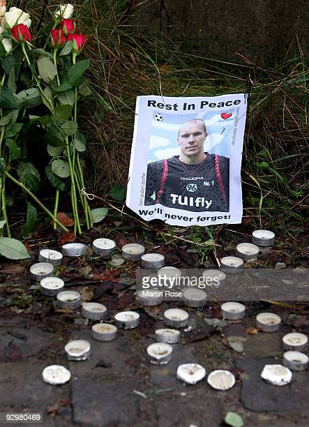 A picture of Robert Enke is placed near a regional station on November 11 2009 in Eilvese Germany Yesterday Enke aged 32 goalkeeper for Hannover 96...